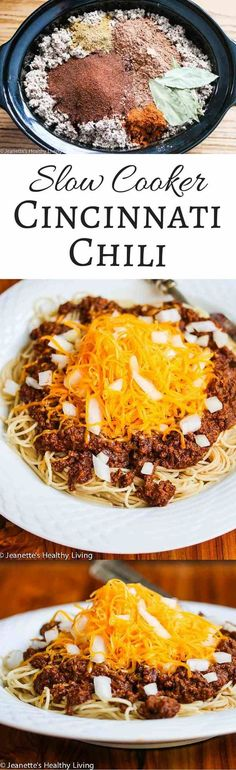 Slow Cooker Cincinnati Chili - this is one of my kids' favorite meals - pure comfort food - perfect for back to school ~ http://jeanetteshealthyliving.com