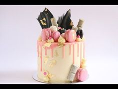 Loaded Pink Gold and Black Cake Drip Tutorial- Rosie's Dessert Spot - YouTube