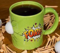 NIB BIG MOUTH BRAND GOLFER'S COFFEE MUG FORE! 20 OUNCE CERAMIC GIFT