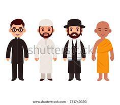 Set of cute cartoon priests of different world religions. Buddhist monk, Christian (catholic) pastor, Jewish rabbi and Muslim imam. Flat vector characters illustration.