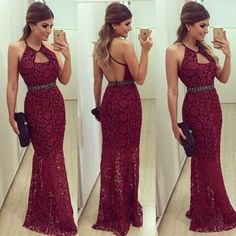 RightBrides 45276 | Burgundy Prom Dresses 2017, Sexy Halter Sheath Lace Backless Long Dark Red Prom/Evening Dress