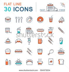 Set  line icons in flat design fast food and Chinese food with elements for mobile concepts and web apps. Collection modern infographic logo and pictogram. Raster version.