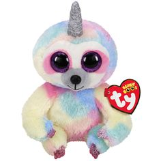 Get the Ty Beanie Boos™ Cooper Sloth with Horn, Regular at Michaels. Surprise your little ones with this horned sloth from Ty on their birthday. Small Beanie, Ty Stuffed Animals, Three Toed Sloth, Magical Tree, Ty Beanie Boos, Beanie Babies, Animal Fashion, Handmade Toys, Teddy Bear