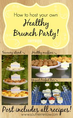 Host your own Healthy Brunch Party! Perfect for bridal showers, baby showers, birthday parties and entertaining in general. These recipes are all healthy and gluten free with suggestions for vegan and paleo options too. There's a DIY Yogurt Parfait Bar, Healthy Muffins and a Savoury Stand.