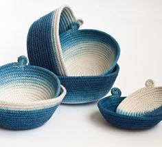 Hand Dyed Indigo Cotton Rope Vessels Fabric Art, Fabric Crafts, Shibori, Rope Art, Fabric Bowls, Rope Crafts, Basket Bag, Clothes Line, Cotton Rope