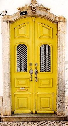 Yellow door in Olhão, Algarve, Portugal. Cool Doors, Unique Doors, Entrance Doors, Doorway, Grand Entrance, Doors Galore, Algarve, When One Door Closes, Yellow Doors
