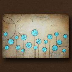 Original Art Abstract Flower Painting Heavy by BrittsFineArt, $340.00