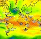 """The """"years of climate departure"""" for various cities across the globe. (Image: University of Hawaii/Abby Frazier) - Article states how it will Change Weather And Climate, Climate Change, Earth Science, Science Nature, Les Experts, University Of Hawaii, Sea Level Rise, Eco Architecture, Tropical"""