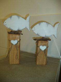 Holzpfosten Deko Fische neu!