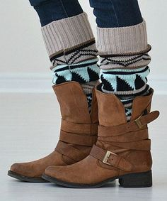 Oatmeal Tribal Leg Warmers
