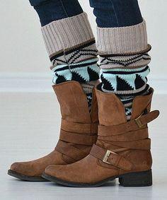 Oatmeal Tribal Leg Warmers