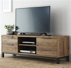 Buy Bronx Wide TV Unit from the Next UK online shop You are in the right place about TV unit diy pallet Here we offer you the most beautiful. Tv Furniture, Living Room Furniture, Living Room Decor, Furniture Design, Living Rooms, Table Tv, Corner Tv Unit, Oak Corner Tv Stand, Wooden Tv Stands