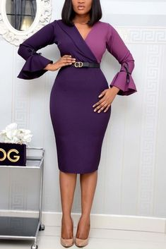 Purple Long Sleeve Dress, Corporate Attire, African Dress, African Wear, African Attire, Party Dresses For Women, Classy Dress, Fashion Dresses, Dress Outfits