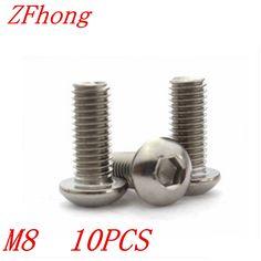 10pcs iso7380 Stainless steel 304 M8*55/60/65/70/75/80/85/90/100 Allen hex hexagon socket button head machine screw