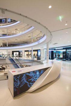 Beaugrenelle Shoppin Center in #Paris. Design: BRANDIMAGE – Paris ; Manufacturing: ADJ, France ; Photo credit: ©Mathieu Ducros ; Materials: HI-MACS®, Alpine White, Fiery Red.