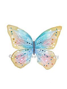 """Aquarelle originale papillon """" Papillon féerique"""" 15 x 21 cm. : Peintures par bluedreams"""