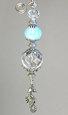Small Silver Seahorse with Silvery Orb Ceiling Fan Pull C...