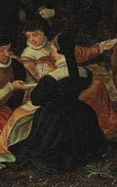 DETAIL from: JORIS HOEFNAGEL (ANTWERP 1542-1601 VIENNA) A VILLAGE FESTIVAL WITH ELEGANTLY DRESSED FIGURES IN PROCESSION, A RIVER AND TOWER BEYOND Village Festival, Renaissance Gown, Antwerp, 16th Century, Tudor, Vienna, Hoods, Mary, Portraits