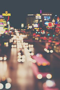 sweetdreamsandhoney - Las Vegas photograph, travel photograph, nevada, architecture photography, las vegas, cityscape, night photograph, neon, lights, road