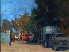 A lively piece by Jove Wang, Farmers Market, 12x16 Oil on Board