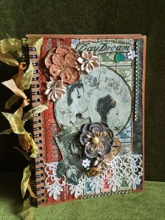 Journal for writing note pad vintage style women and flower by buttonsandbottles…