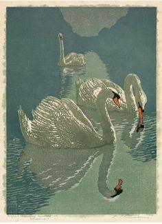 Carl Thiemann (German, 1881-1966). Schwane. ca. 1916. Woodblock.