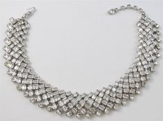 Vintage ORIGINAL BY ROBERT Crystal Clear Rhinestone Collar Choker Necklace