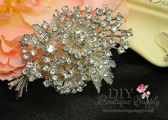 Your place to buy and sell all things handmade Grad Dresses Short, Crystal Bouquet, Bridal Decorations, Wedding Brooch Bouquets, Large Crystals, Crystal Wedding, Bridal Accessories, Crystal Rhinestone, Antique Silver