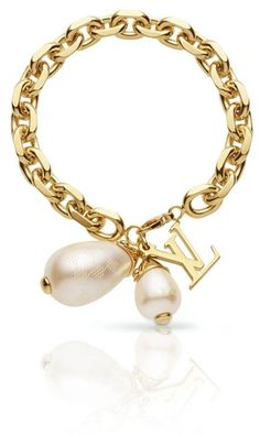 Louis Vuitton chainlink bracelet with pearls