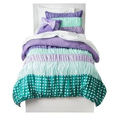 Circo® Purple Dots & Stripes Collection--would use BM Violet Mist 1437 and BM Fernwood Green 2145-40 (again have Lowe's make up these colors for you. They are the correct Purple and Green combo for this bedding)