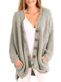 FISACE Womens Open Front Warm Knit Cardigan Sweater Chunky Pointelle Hooded  Coat Pocket  2ac94729f