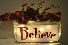Believe Holiday Christmas Seasonal Glass Block by VinylSigns4him, $25.00