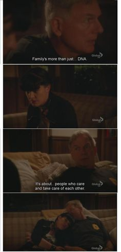 """NCIS Season 9 Episode 4 - """"Enemy on the Hill"""" Gibbs talking to Abby when she finds out she was adopted . Family is more than just DNA. Serie Ncis, Ncis Tv Series, Gibbs Ncis, Leroy Jethro Gibbs, Best Tv Shows, Movies And Tv Shows, Favorite Tv Shows, Favorite Quotes, Tv Show Quotes"""