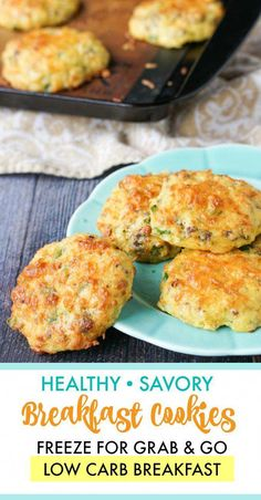 Healthy Savory Breakfast Cookies - low carb, gluten free These healthy saavory breakfast cookies are like an omelet and biscuit rolled into one. Full of tasty savory ingredients for a low carb breakfast on the go. Only net carbs per cookie. Breakfast Low Carb, Breakfast Appetizers, Savory Breakfast, Breakfast Cookies, Healthy Breakfast Recipes, Healthy Drinks, Breakfast Ideas, Breakfast Dessert, Diet Drinks