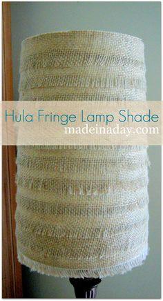 DIY Hula Fringe and Flower Burlap Lampshade DIY Burlap DIY Crafts