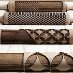 Gorgeous laser-cut rolling pins created by design students as part of an exhibition entitled Altered Appliances.
