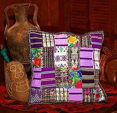 Violet Mixed Pastel Guatemalan Throw Pillow Cover.