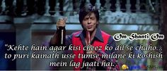 Bollywood Romatic Dialogues shahrukh khan
