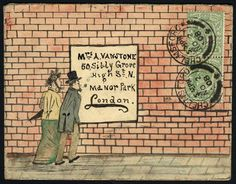 ¤ 1907 all over watercolours hand painted cover from Chelmsford to London franked pair KEVII ½d, alongside couple looking at a notice affixed to a brick wall. Envelope Lettering, Envelope Art, Envelope Design, Love Mail, Fun Mail, Decorated Envelopes, Handmade Envelopes, Mail Art Envelopes, Art Postal