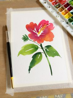 Learn how to paint a new flower every day with help from acclaimed watercolor artist, Yao Cheng. Known for her flowing, elegant style, Yao shares her technique Watercolor Artists, Watercolor Cards, Watercolour Painting, Watercolor Flowers, Painting & Drawing, Watercolours, Drawing Flowers, Watercolor Portraits, Watercolor Landscape