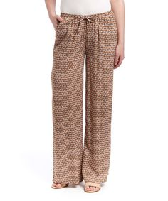 Another great find on #zulily! Brown Geometric Drawstring Palazzo Pants by Jane Ashley #zulilyfinds