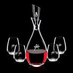 Promotional Products Ideas That Work: Juliette Decanter & 4 Stemless Wine. Get yours at www.luscangroup.com