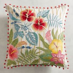 Discover unique patterned pillows and other decorative accent pillows at Pier 1 Imports. Shop an array of floral, striped, geometric, animal print and more today! Cushion Embroidery, Embroidery Flowers Pattern, Machine Embroidery Patterns, Crewel Embroidery, Hand Embroidery Designs, Sewing Patterns, Cute Pillows, Diy Pillows, Decorative Throw Pillows