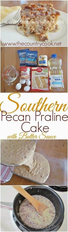 The Country Cook: Southern Pecan Praline Cake with Butter Sauce. Pecan Praline Cake with Butter Sauce is so scrumptious that no one will know it's made with a cake mix! All topped with a sweet butter sauce! Poke Cakes, Cupcake Cakes, Fruit Cakes, Pecan Praline Cake, Pecan Pralines, Butter Pecan, Coconut Pecan, Chocolate Butter, Chocolate Gifts