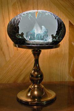 """Lamp Lit Emu Egg Shell """"Nativity Scene"""" Design"""