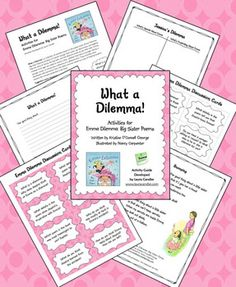 Poetry -- What a Dilemma! is a free collection of reading and writing activities based on the poetry book Emma Dilemma: Big Sister Poems by Kristine O'Connell George. Each poem can stand alone, but together they tell the story of Jessica, the big sister, and the dilemma posed by her little sister, Emma. Children of all ages can relate to Jessica's story, whether they have a younger sibling, a younger cousin, or a friend who poses a dilemma.