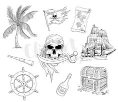 Pirate Line Clip Art Illustrations Digital Stamps Vector Nautical Clipart Instant Download