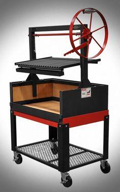 Argentine Grill w/Fire Brick, Grill Head & Firebox, Cart, Single Grate - Item