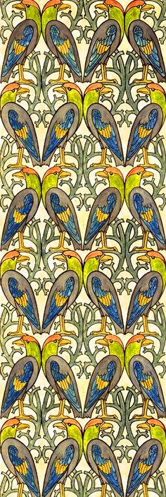 Birds tropical parrot This has a William Morris feel about it