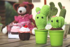 Cactus, cupcake and bear amigurumi